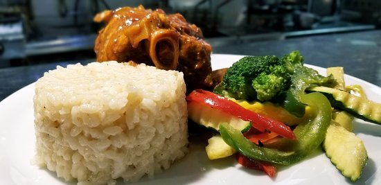 """PORK OSSOBUCCO  Slow roasted, """"fall off the bone"""" tender! with natural jus, vegetables, creamy risotto"""