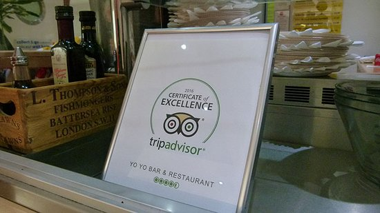 A photo of the YoYo Cafe Bar Trip Advisor Certificate of Excellence