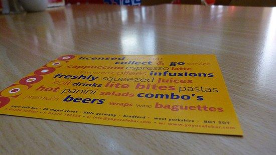 A photo of the YoYo Cafe Bar Flyer