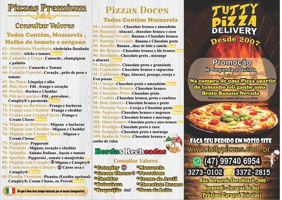 Tutty Pizzas: Cardapio