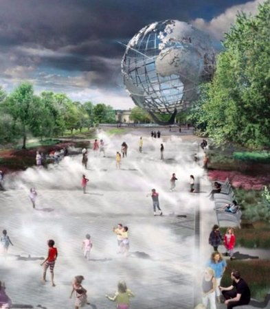 """Flushing Meadows Corona Park: Cool off in the fountains at the iconic """"Unisphere""""in Flushing Meadows Park"""