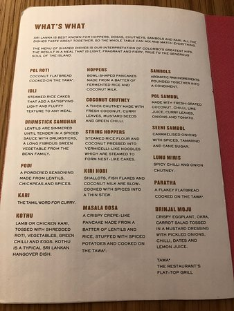 Hotal Colombo - What's What on the menu - Picture of Hotal