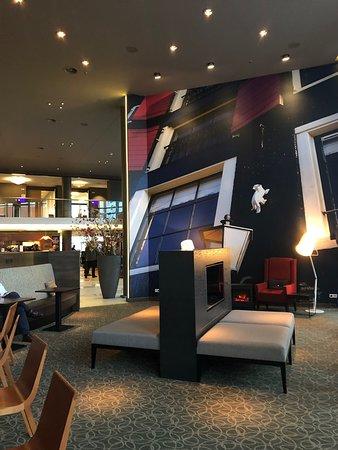 Lounge area at hotel near entrance