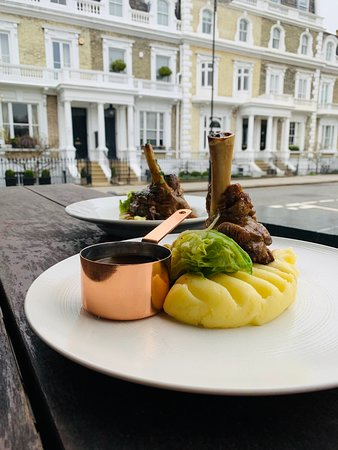 The Anglesea Arms: Our signature dish: Slow braised lamb shank, rosemary & red wine, mash potatoes, hispi cabbage.