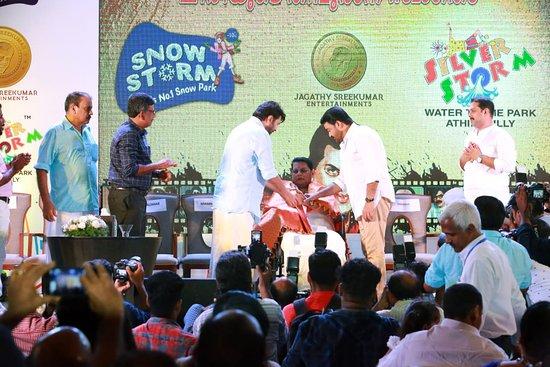 Mammootty & Mohanlal @ Jagathi Sreekumar Returns Ad Release Of Silver Storm Water Theme Park