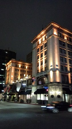 The US Grant Hotel at night.