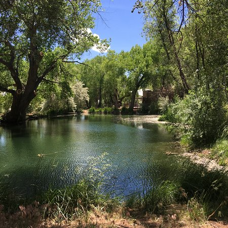 Ojo Santa Fe Spa Resort: One end of the spring-fed pond, looking toward the buildings near the entrance.