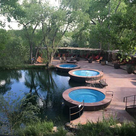 """Ojo Santa Fe Spa Resort: The opposite end of the pond, where the new """"Repose Pools"""" are located. So serene!"""