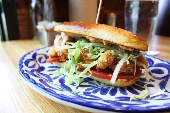 Fielding's Wood Grill: Shrimp Po Boy Roll - Cajun 1000 island, lettuce, pickled veggies, pain au lait