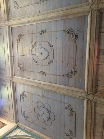 Ceiling inside the mission with huckleberry stained woodwork