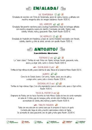 Menú: ensaladas y antojitos