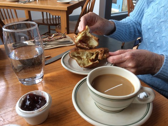 Jordan Pond House: Popover with Jam & butter, coffee $12