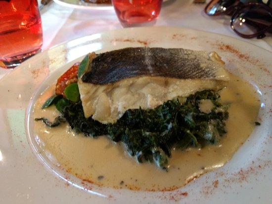 Le Basilic: Principal de Pescado en colchón de espinacas con crema