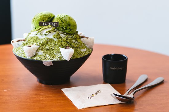 Sulbing Cambodia TK: Green Tea Sulbing with Red Bean Mochi, perfect for a matcha craving