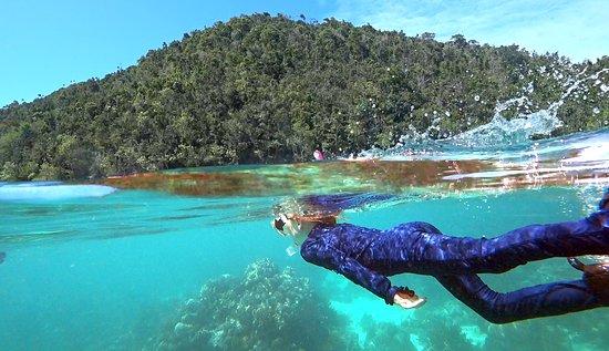 Kalawai Adventure: My daughter snorkeling among the reefs
