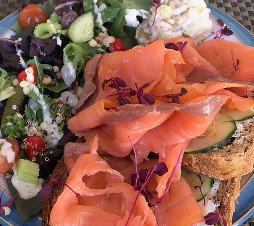Cured Salmon with Cucumber and Cream Cheese open sandwich with a large, delicious side salad - a definite favourite!