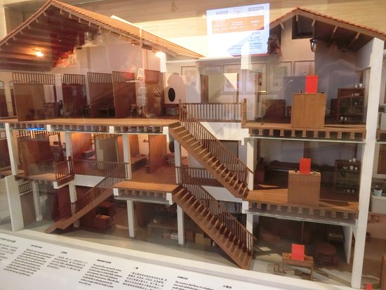 Model of the museum, showing some of the 'cubicles' upstairs, each of which is used to describe a family in some detail