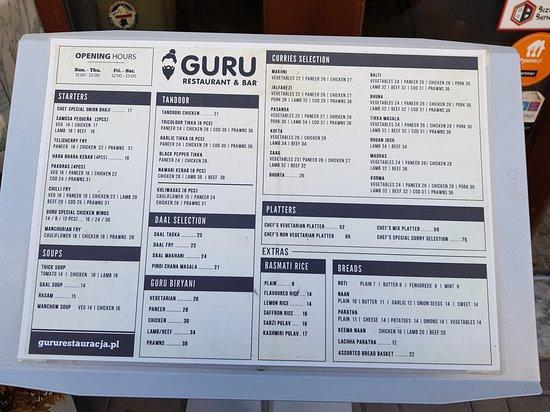 Guru - Restaurant & Bar: menù