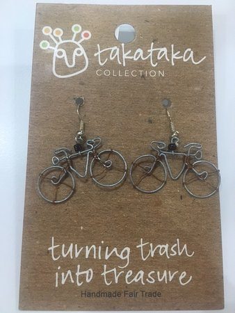 Bycicle earrings made with recycled materials