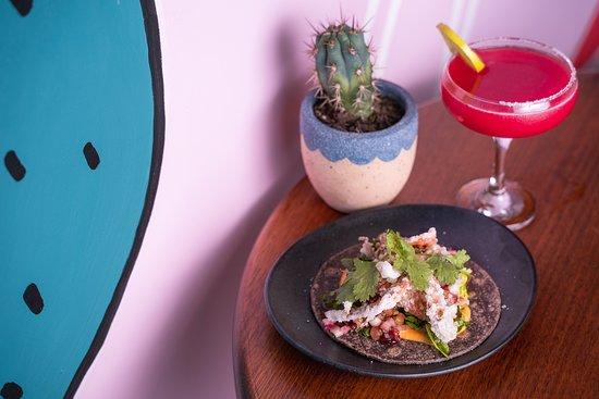 Condesa Bar and Restaurant: Softshell Crab Taco and Margarita at Condesa Torrensville