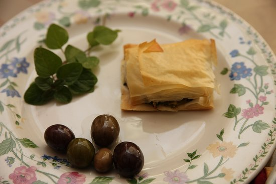 The Shop on Westminster: Kalamata olives and filo dough covered meat pie
