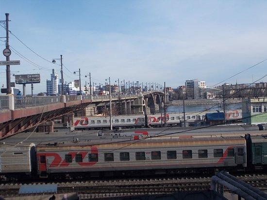 Glazkovskiy Bridge. A photo of the bridge taken from the railway yard.