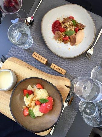 Delicious potato dumpling and kaiserschmarrn.