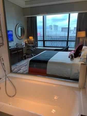 Carlton City Hotel Singapore: view from bathroom