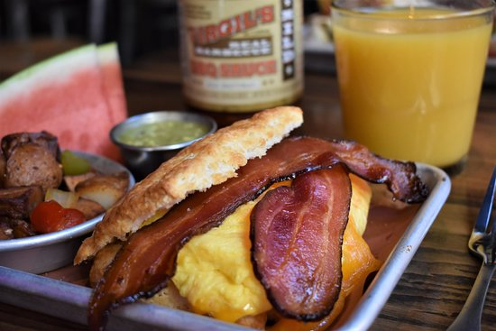 Virgil's Real BBQ - Times Square: Breakfast Biscuit Sandwich