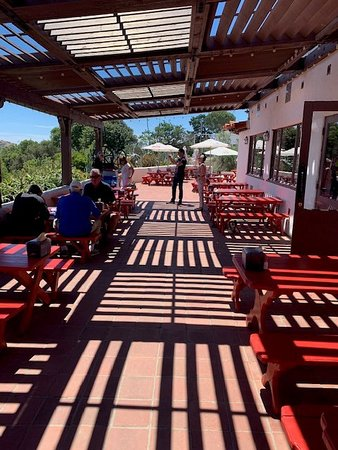 Patio, adjacent to interior and food ordering area