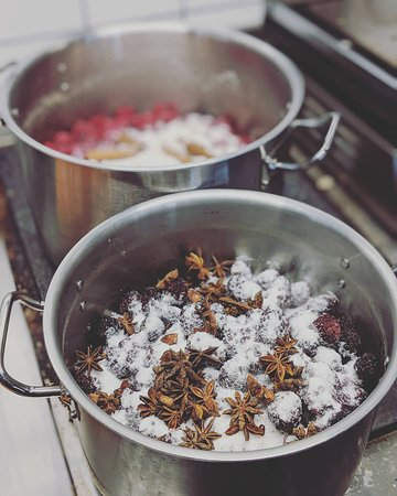 We make all the food from scratch in our kitchen. On this picture we're making homemade jam.