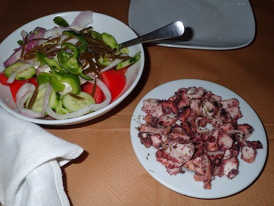 Marinated octopus and Greek Salad