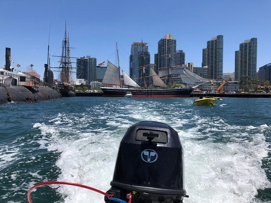 San Diego Harbor Speed Boat Adventure: Looking back towards the skyline from our speedboat.
