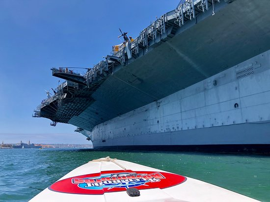 San Diego Harbor Speed Boat Adventure: Up close view of the USS MIdway