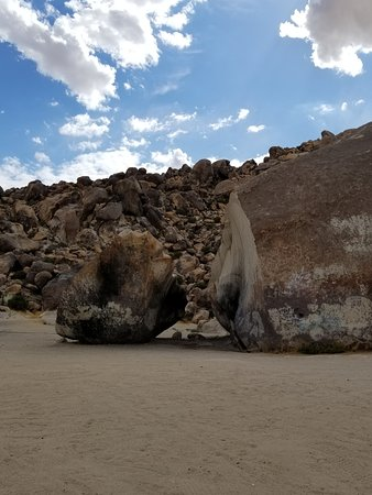 This shows how the Giant Rock has now split in two.