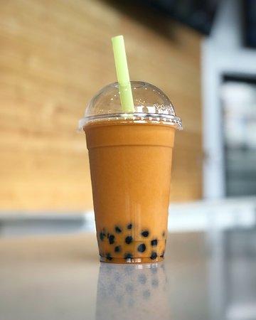 Thai tea with black boba