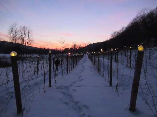 As the sun was setting, the ice luminaries began to be seen.