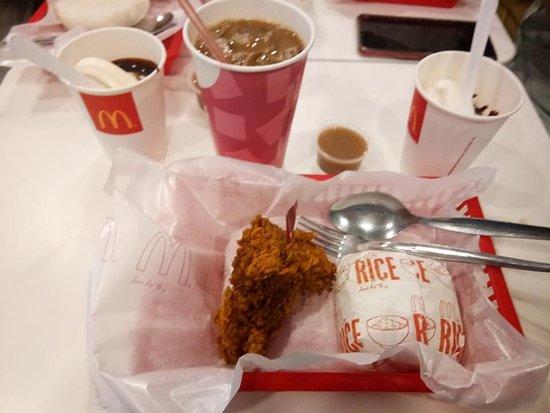 Spicy Crispy Chicken together with Ice Coffee & Sundae! Love it..... Mc Donalds, IT Park, Cebu City