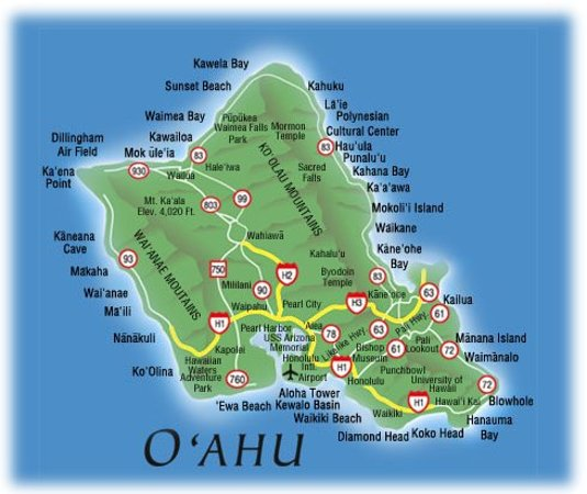 Map of Oahu Island