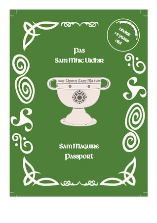 Sam Maguire Passport Trail : Front cover of the Sam Maguire Passport (u12's version)  Also available in u18's and Seniors (Adults) versions.