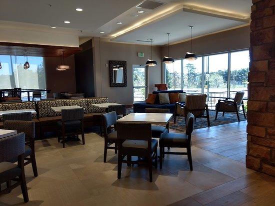 other half of hotel lobby/breakfast area