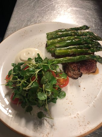 Glaves' Sirloin Steak, Yorkshire Asparagus, Pickering Watercress and Baby Tomato Salad, Truffle Mayo