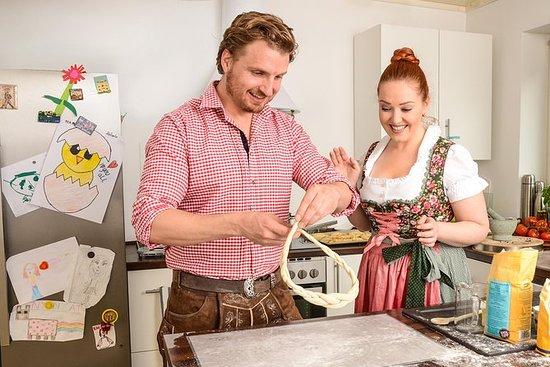 在当地的慕尼黑家中烘烤巴伐利亚椒盐卷饼