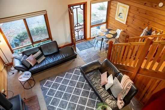 view from mezzaine level of cottage into the lounge/dining