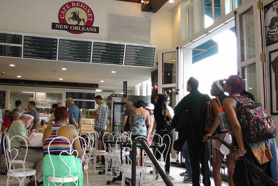 Cafe Beignet on Decatur: long line of customers waiting to order at 600 Decatur location 5/20/19
