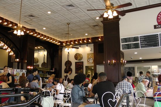 Cafe Beignet on Decatur: dining room and customers on Sunday morning at 600 Decatur