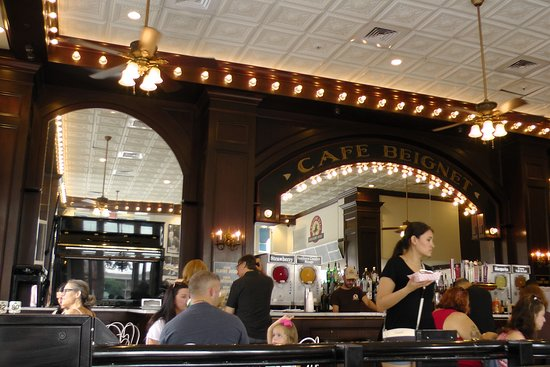 Cafe Beignet on Decatur: bar counter at 600 Decatur which was open on Sunday a.m.