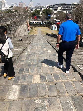 Zhonghua Gate (Zhonghuamen Castle): The walk down was steep.  There are steps, as well as a level surface.