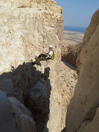 Dead Sea Region, Israel: Rappelling at Tmarim dry gorge