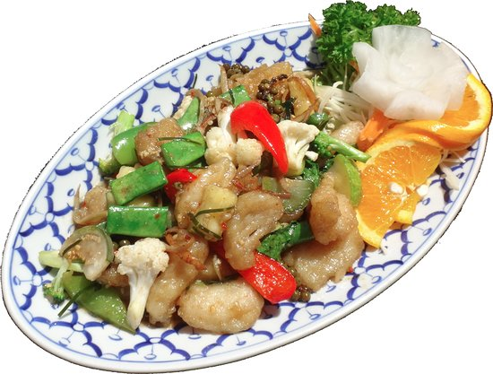 Fried fish with fresh green pepper